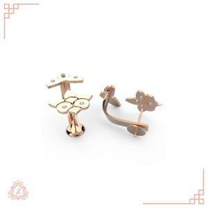 گالری طلا و جواهرات زیوریاب-گوشواره لوتوس-طلا رزگلد