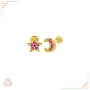 گالری طلا زیوریاب-طلای کودک-گوشواره ماه و ستاره