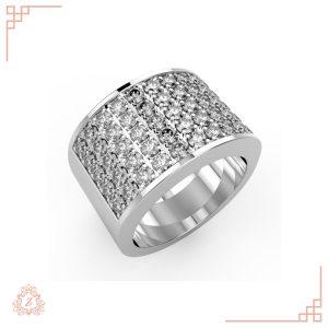 گالری طلا و جواهرات زیوریاب-انگشتر جواهر آپامه-رنگ سفید-نمای کنار