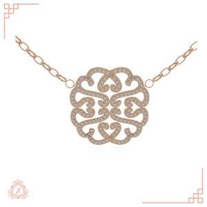 گالری طلا و جواهرات زیوریاب-گردنبند جواهر نگین دار دومر-رنگ رزگلد-نمای روبرو